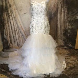 Beaded Mermaid Wedding Dress with Chapel Train